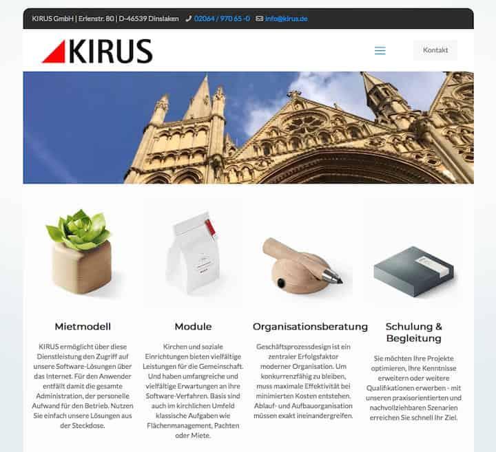 Kirus, der CAFM-Spezialist für Kirchen und Sozialeinrichtungen, hat seine Website erneuert