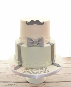 Moustache Christening Naming Cake