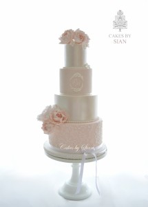 Four tier blush pink wedding cake