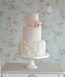 Ruffles and Roses Wedding Cake