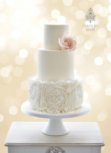 Ruffles Wedding Cake with Soft Pink Rose