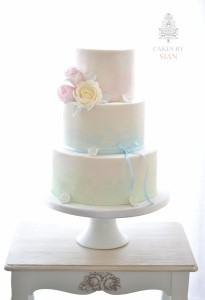 Watercolour pastels wedding cake