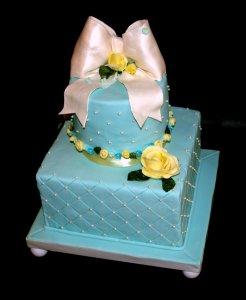Tiffany Blue Bridal Shower or Birthday Cake, Portland Oregon