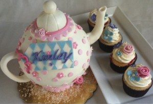 Tea pot cake, flower cupcakes, Alice in Wonderland Cake