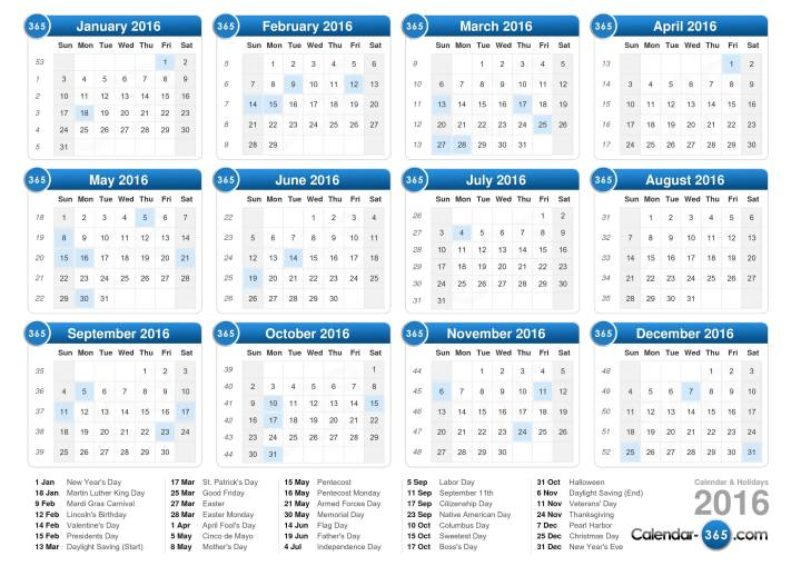 Download The 2016 Calendar With Holidays Landscape Format 1 Page ...