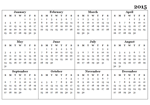 excel yearly calendar 2015