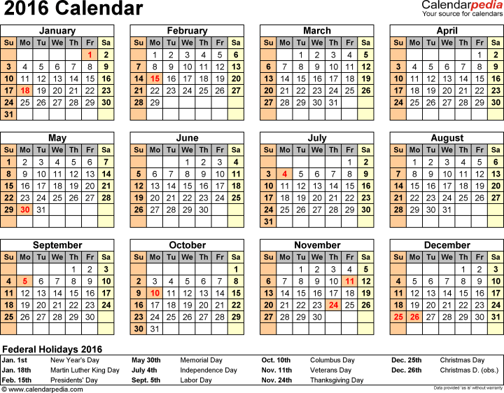 2016 Calendar For Excel Year At A Glance 1 Page . Dod Civilian Pay ...