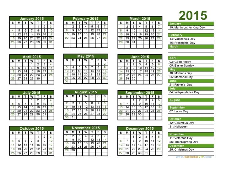 2015 Calendar Blank Printable Calendar Template In PDF Word Excel ...