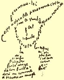 Guillaume Apollinaire - Calligramme - Poème du 9 février 1915 - Reconnais toi