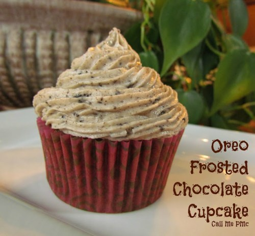 oreo frosted chocolate cupcake