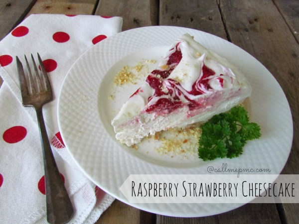 raspberry strawberry cheesecake refreshing, light and easy to make, this is the perfect Summer dessert #cheesecake #nocook #raspberry #strawberry #callmemc