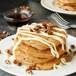 Whole Wheat Banana Pancakes with Cream Cheese Glaze