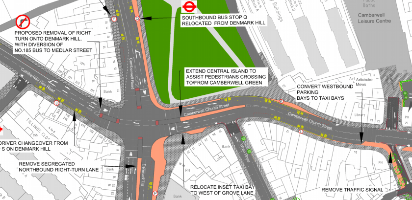 Map of Camberwell Green showing proposed improvements