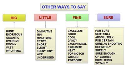 Other ways to say, little, big