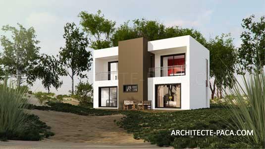 Le cube en plan de maison contemporaine avec un architecte for Architecte pour les maisons