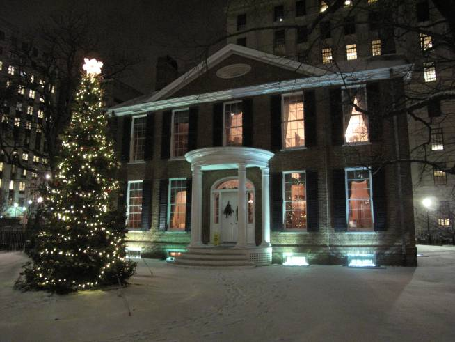 Photo of Campbell House with Christmas Tree at night