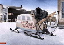 Snow Plane - Colourized Photograph
