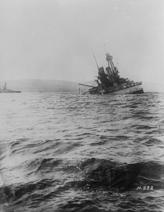 "(W.W.I - 1914 - 1918) The ""Bayern"". Her final plunge. Scuttling of German Fleet at Scapa Flow. June 21st 1919."