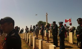 Roll call to honour the fallen at the Agira Canadian War Cemetery