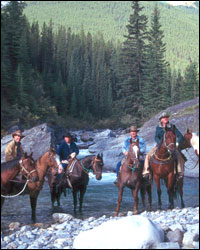 Horse back riding in the Canadian Rockies.