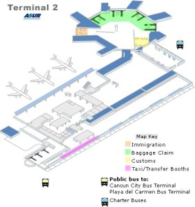 Cancun Airport Map of terminal 2 Arrivals