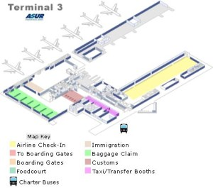 Cancun Airport Map of terminal 3 Arrivals