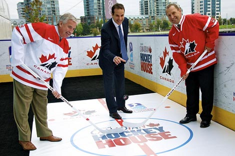 Bob Nicholson and Stan Smyl launch the Molsan Canadian Hockey House