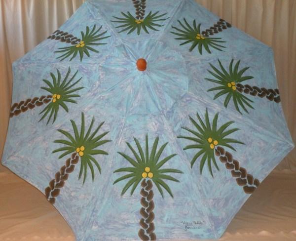 Aqua Palms Hand Painted Umbrella