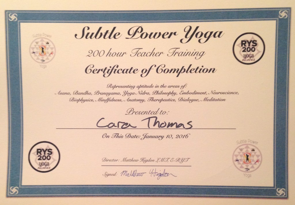 Cara completed her 200 hour yoga teacher training program in January of 2016. She is currently seeking students who are interested in beginning their own unique yoga journey. Cara is able to teach pranayama, meditation, asana, philosophy, mindfulness, and nidra practices. Please contact Cara directly for rates and availability.
