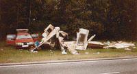 Crash damaged touring caravan