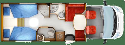 Rapido 666 Motorhome Daytime Floorplan