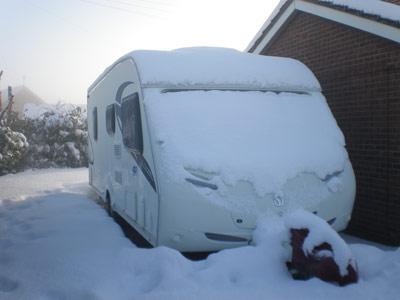 touring caravan in the snow