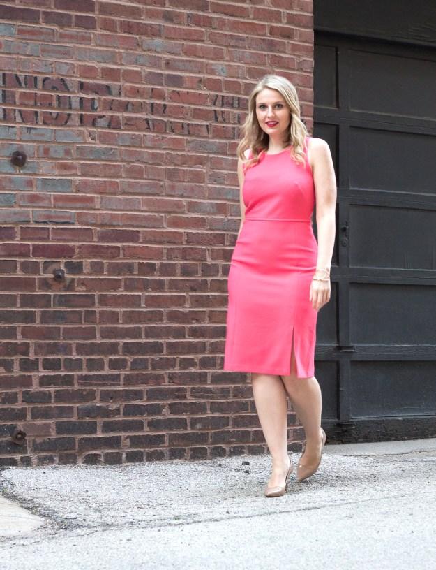ann taylor dress, ann taylor, work dress, coral, pretty in pink