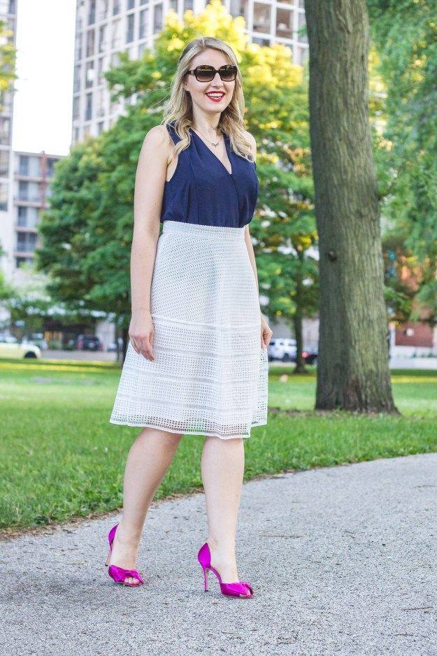 fashion investment, warehouse skirt, joie blouse, kate spade sunglasses, manolo blahnik pumps