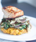 sweet potato, sweet potato pancakes, grilled salmon, healthy dinner, shitake mushrooms,