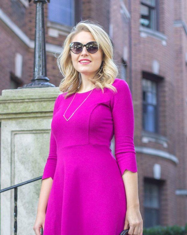 3/4 Sleeve Purple Dress