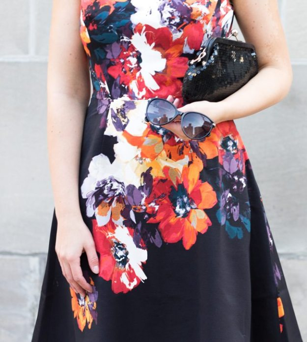 lady like dark floral dress