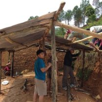 PFN volunteers building the temporary shelter