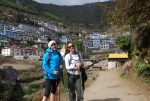 Trekkers posing at Namche Bazaar