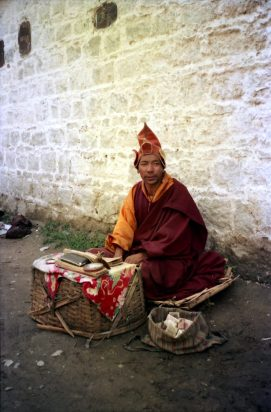 Buddhist mendicant seen in Lhasa's street