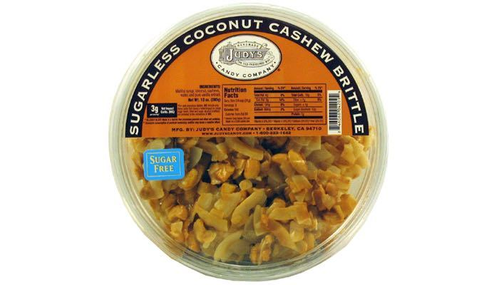 Judy's Candy Co. No Sugar Added Coconut Cashew Brittle 10 oz. Tub