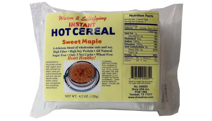 Sweet Maple Instant Hot Cereal 5 pack by Dixie Carb Counters