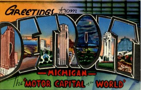 Greetings From Detroit Old Postcard