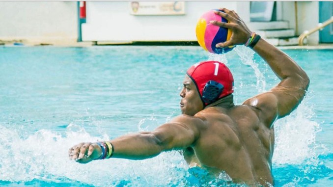 Cam Newton playing water polo.|Submitted photo by USA Water Polo