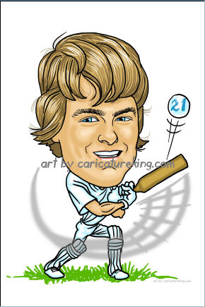 birthday cricket caricature gift