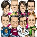 work team group cariature