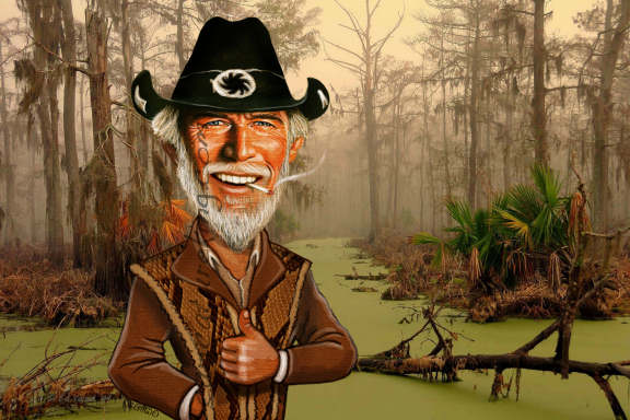 caricature of man in alligator clothing in front of swamp