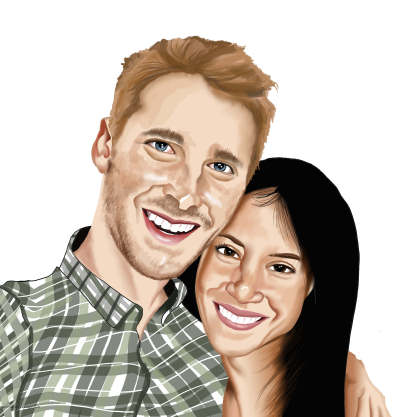 happy couple caricature annivrsary gift
