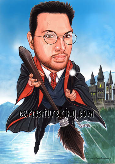 caricature in Harry Potter theme - playing quidditch