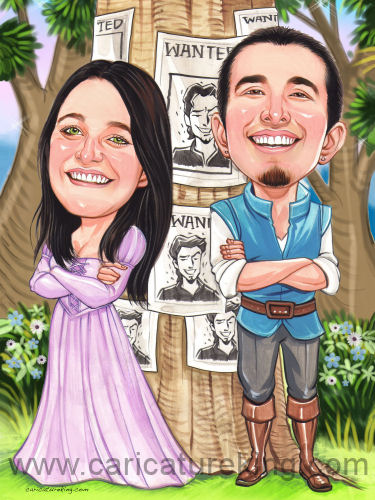Caricature couple in love - Flynn Rider and Rapunzel  theme